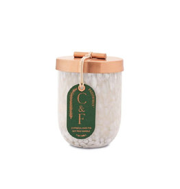 White Cheena Candle with Copper Lid