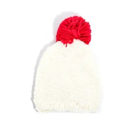 Beanie with Red Pom-Pom