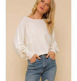 Boat Neck Sweater with Button Detail Back