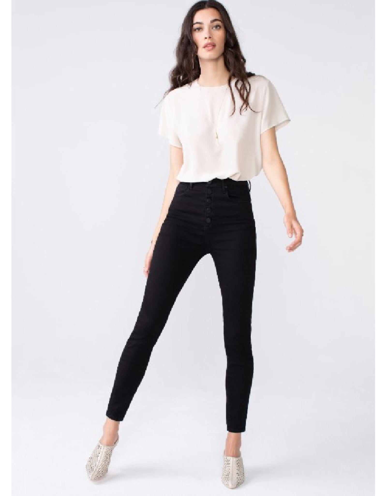 High Waist Skinny Jeans with Button Fly