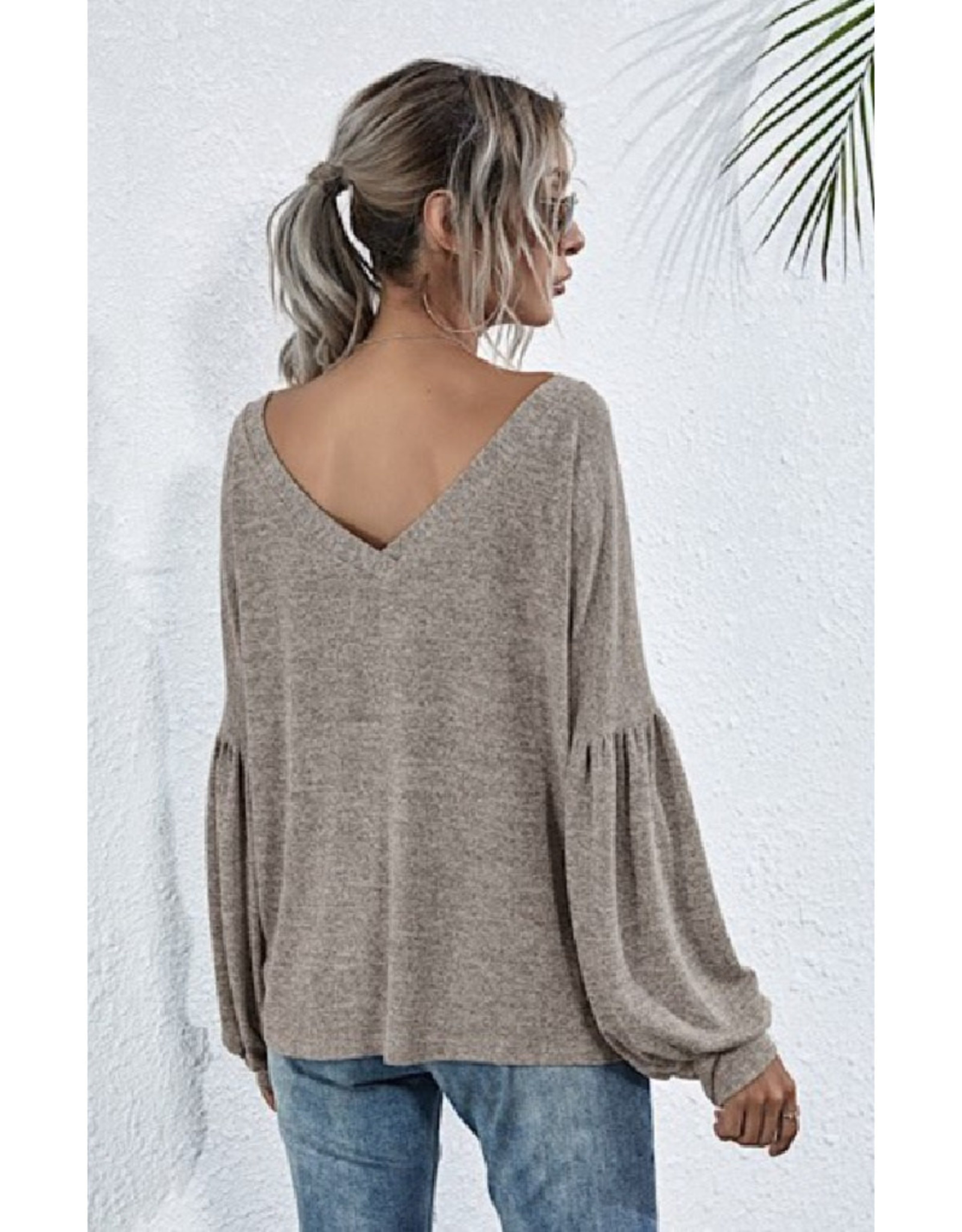 V-Neck Sweater with Bell Sleeves