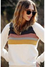 Quarter Zip Top with Colorblock Stripes