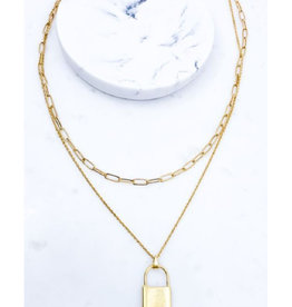 Two Layer Necklace with Lock