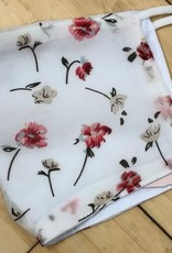 Floral Face Mask - White/Pink