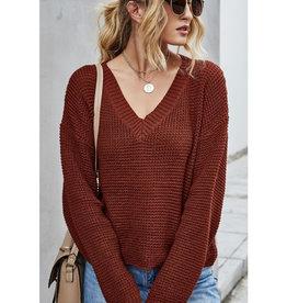 Waffle Knit V-Neck Sweater