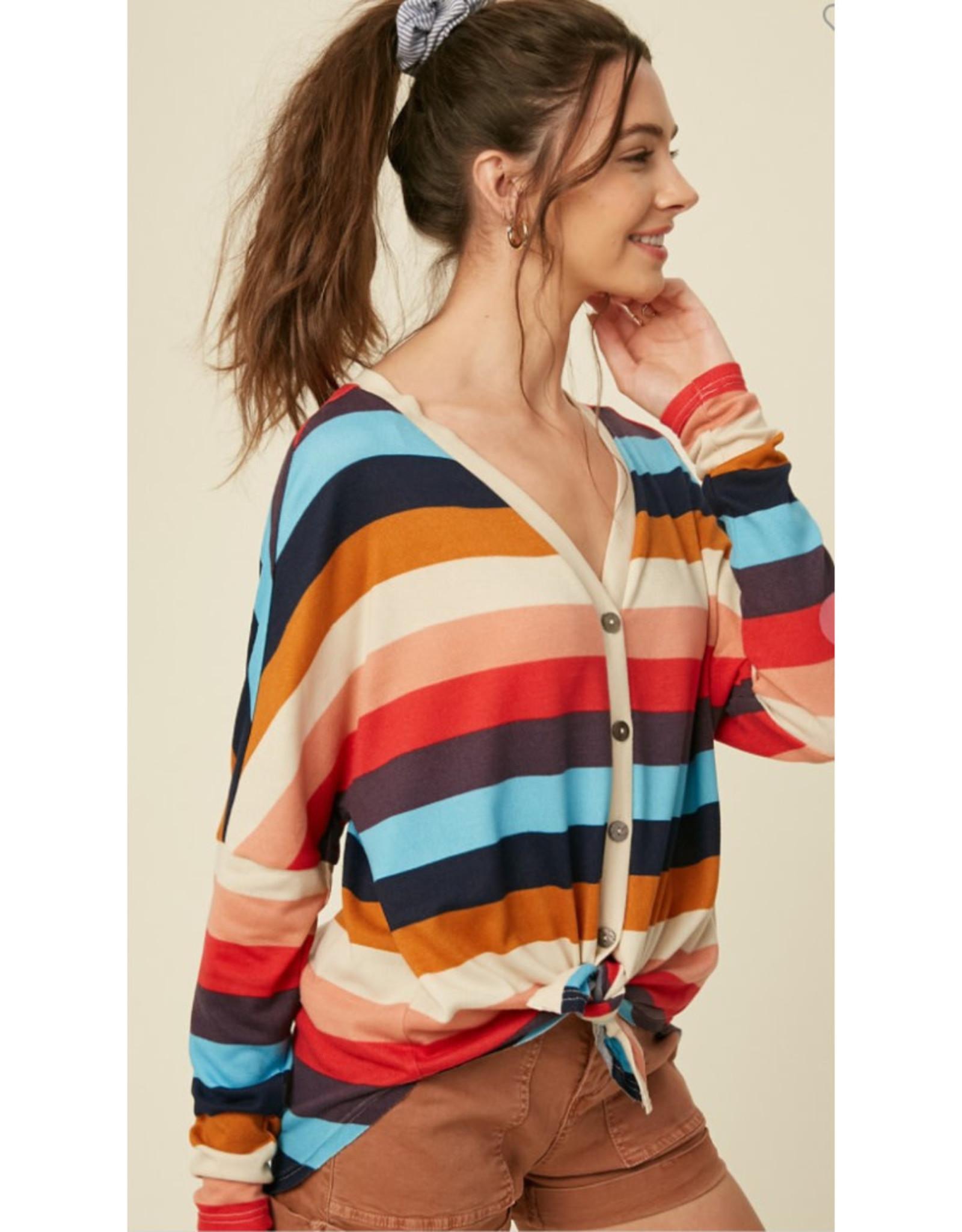 Multi Stripe Cardigan Top
