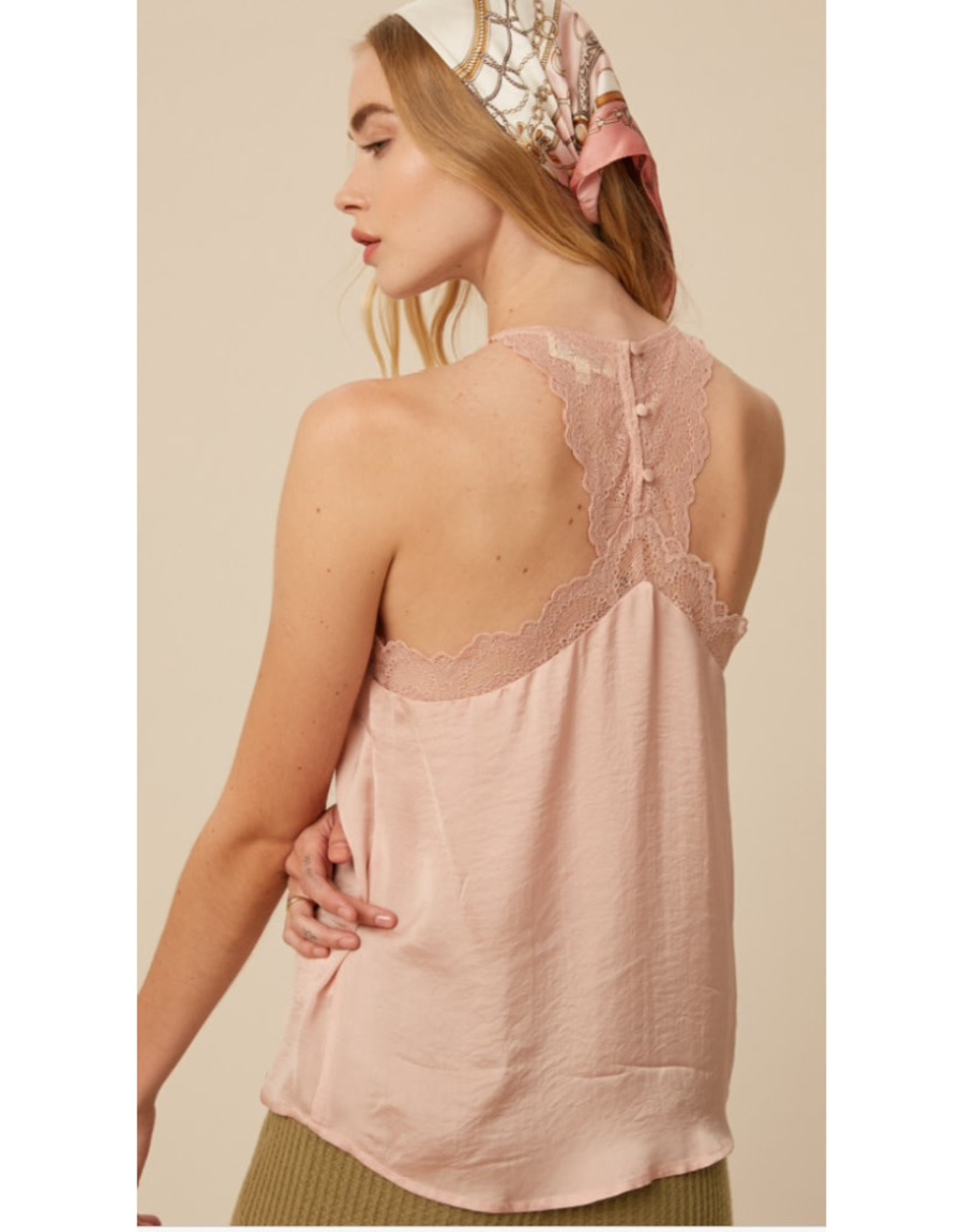 V-Neck Cami with Lace