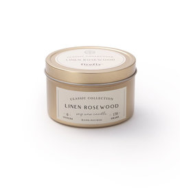 Firefly Classic Candle Tin - Linen Rosewood 6 oz.