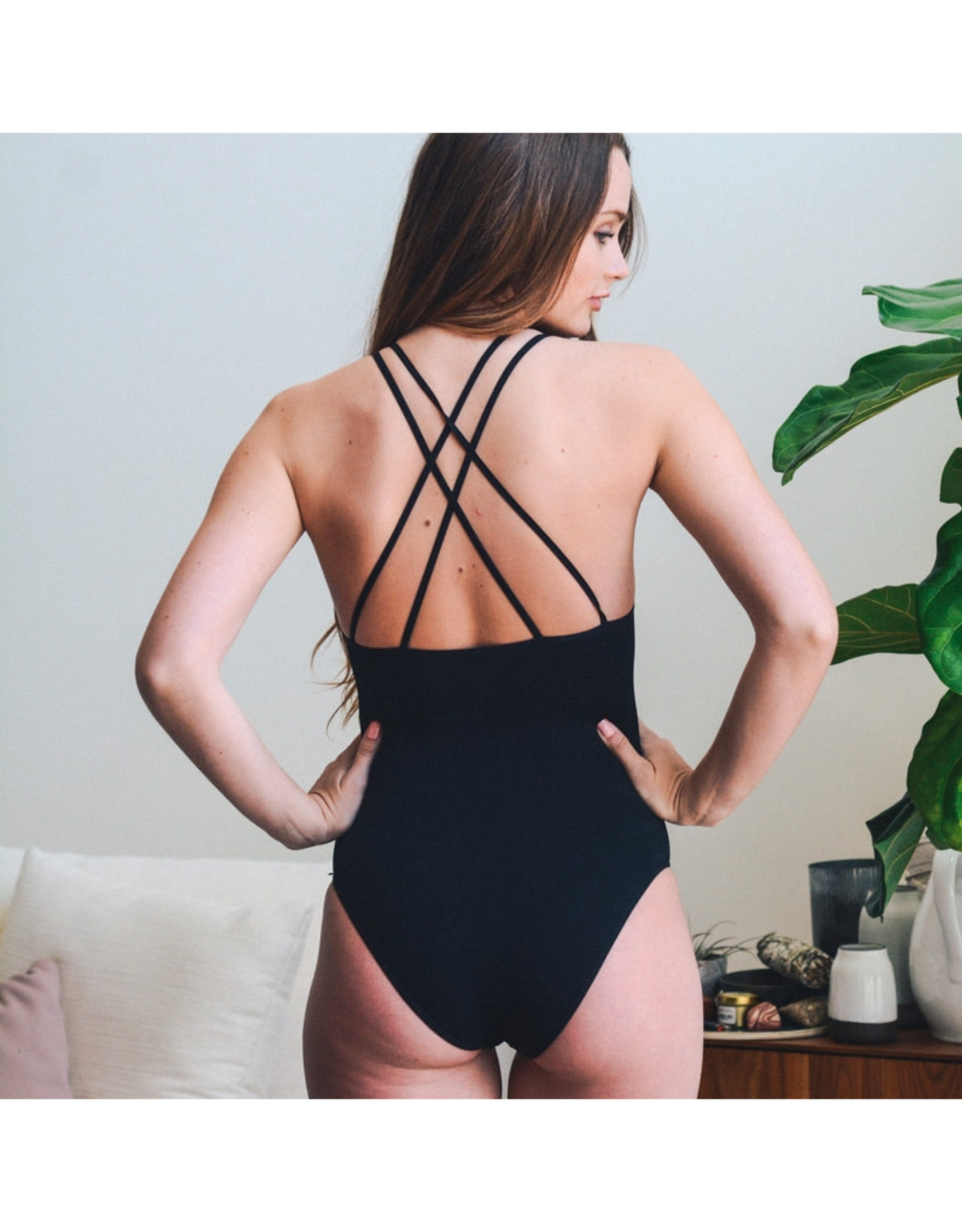 High Neck Cutout Ribbed Bodysuit