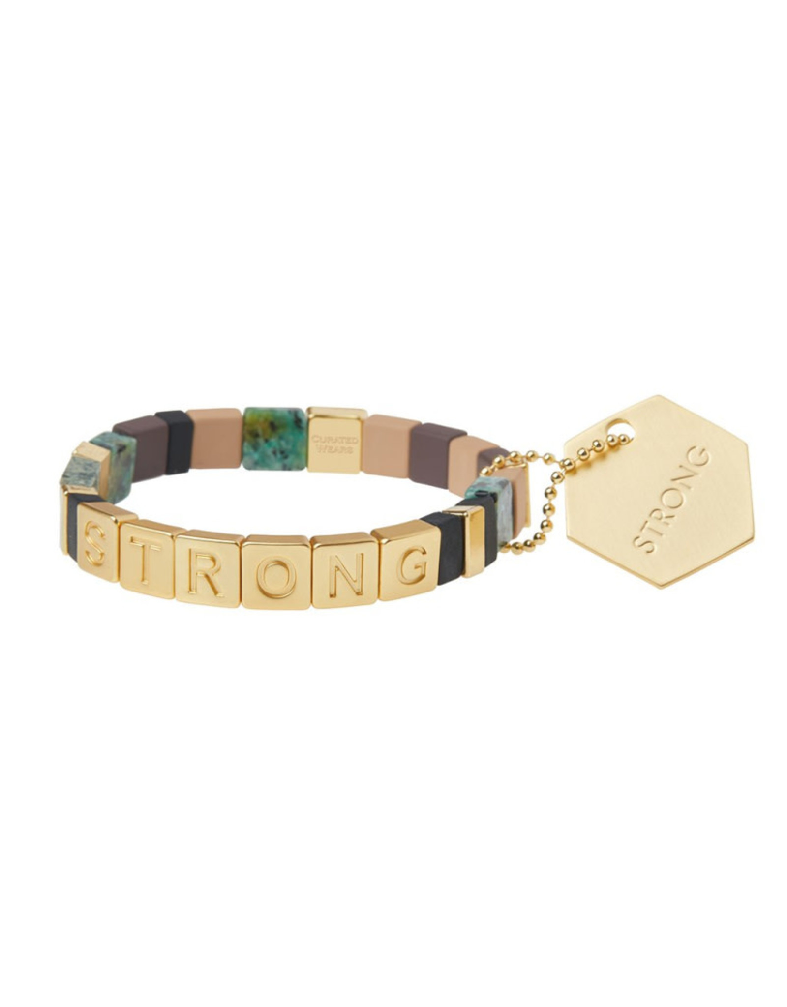 "Empower Bracelet - ""Strong"" -Gold/African Turquoise/Jasper"