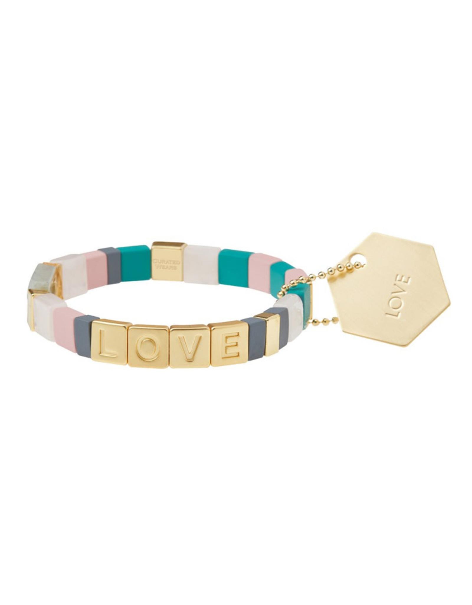 "Empower Bracelet - ""Love"" - Gold/Rose Quartz/Labradorite"