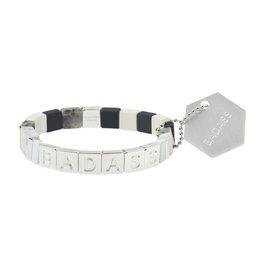 """Empower Bracelet - """"Badass"""" - Silver/Black Labradorite/Howlite"""