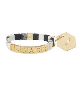 """Empower Bracelet - """"Badass"""" - Gold/Black Labradorite/Howlite"""