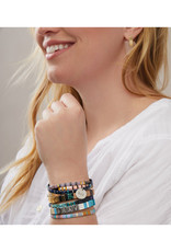 """Empower Bracelet - """"Strong"""" - Silver/African Turquoise/Jasper"""