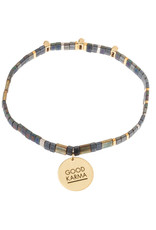 "Good Karma Charm Bracelet - ""Good Karma"" - Oil Slick/Sparkle/Gold"