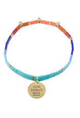 "Good Karma Charm Bracelet- ""Love Always Wins"" - Multi/Sparkle/Gold"