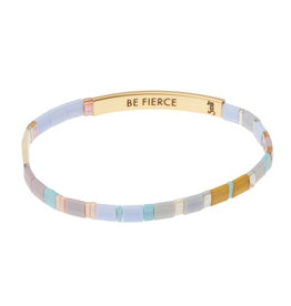 "Good Karma Bracelet - ""Be Fierce"" - Lavender/Gold"