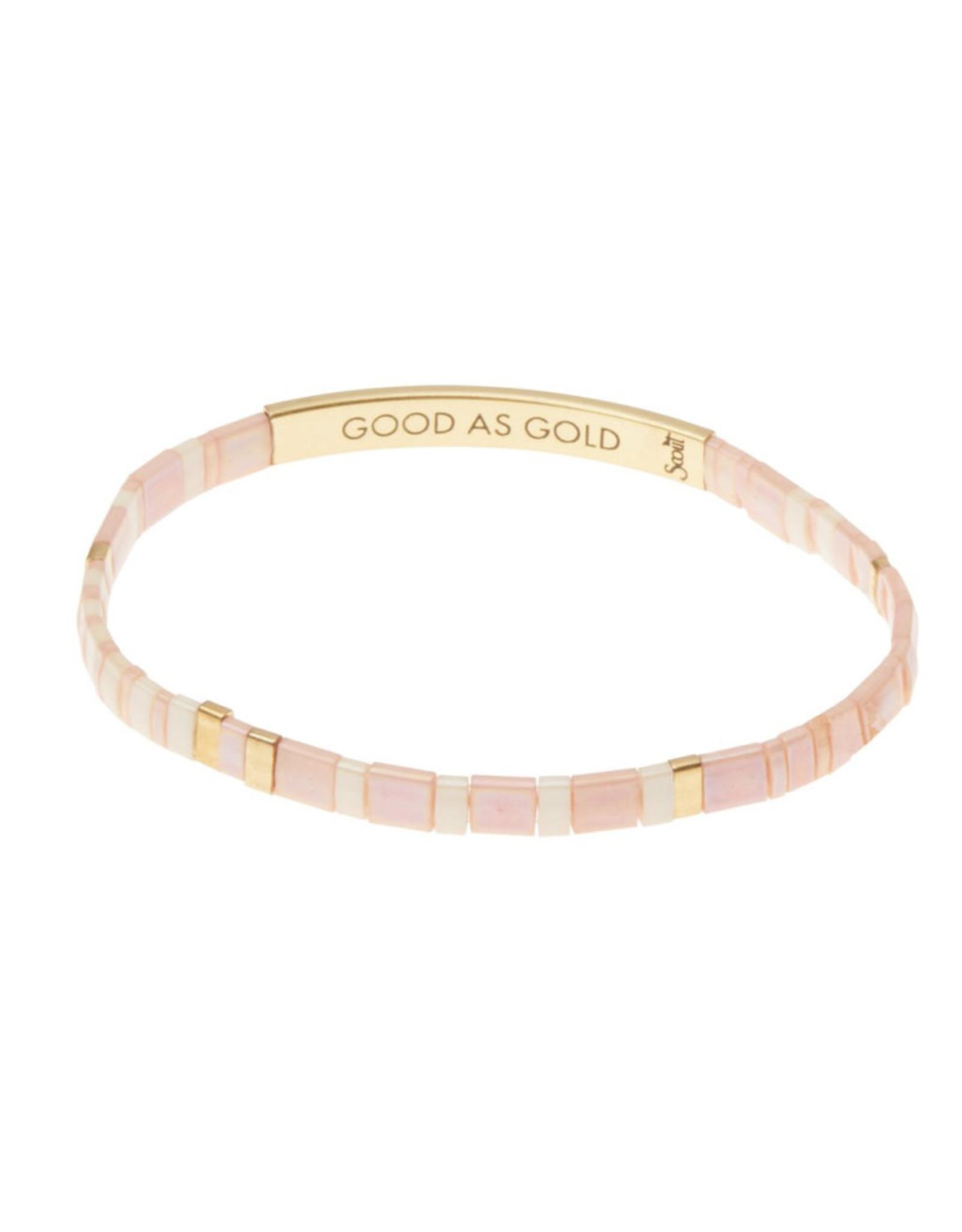 "Good Karma Bracelet - ""Good as Gold"" - Blush/Gold"
