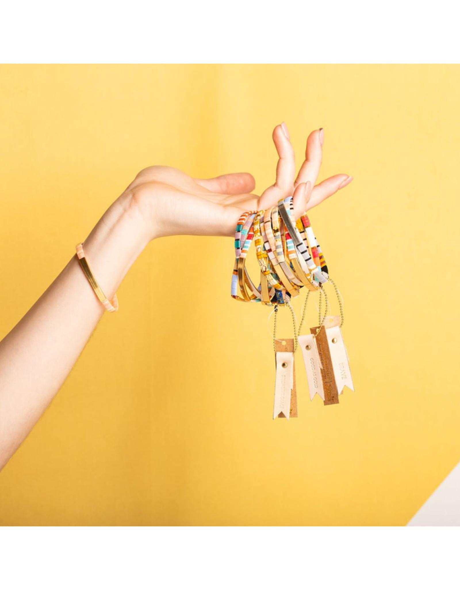 "Good Karma Bracelet - ""Gratitude"" - Turquoise/Orange/Silver"