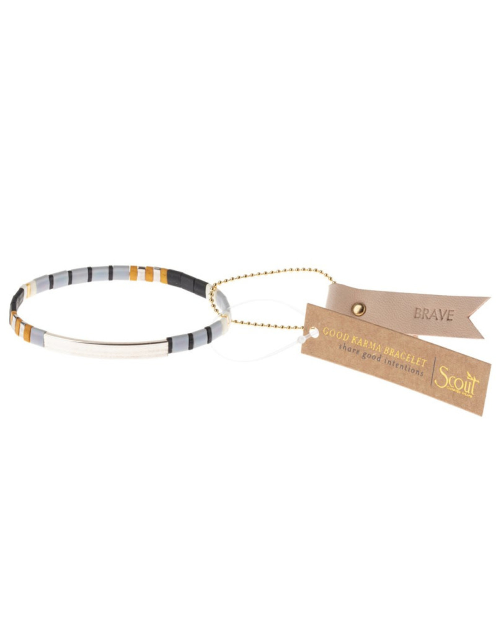 "Good Karma Bracelet - ""Brave"" - Gray/Black/Silver"