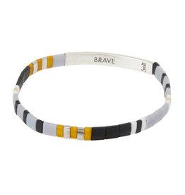 """Good Karma Bracelet - """"Brave"""" - Gray/Black/Silver"""
