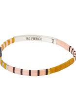 """Good Karma Bracelet - """"Be Fierce"""" - Pink/Mustard/Silver"""