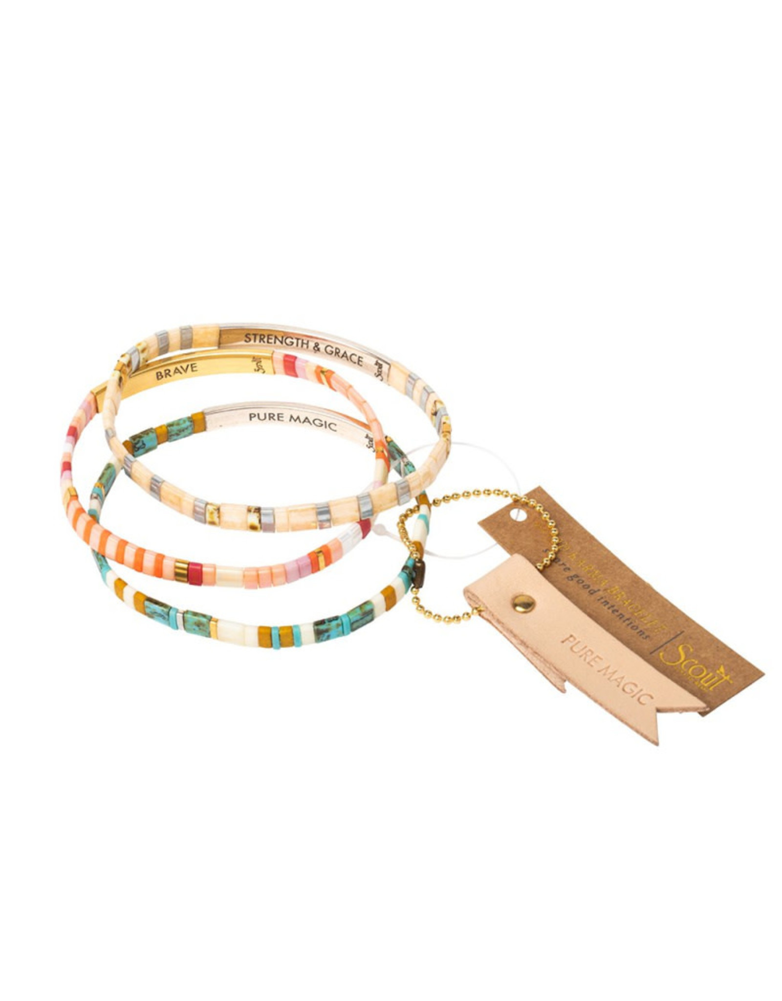 "Good Karma Bracelet - ""Strength and Grace"" - Ivory/Silver"