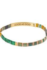 "Good Karma Bracelet - ""Good as Gold"" - Forest/Blush/Gold"