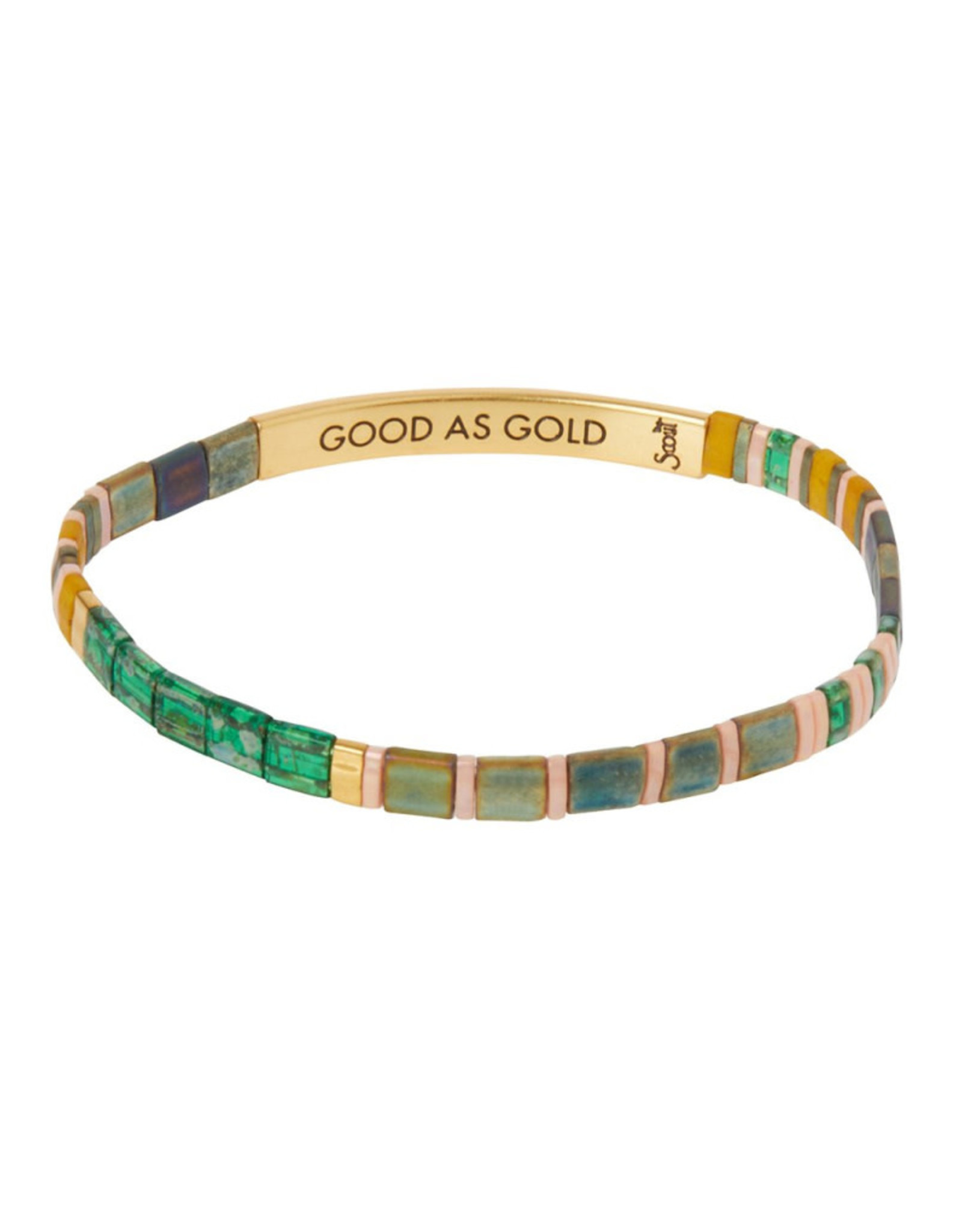 "Good Karma Bracelet - ""Good as Gold"" - Forest/Blush/Gold"