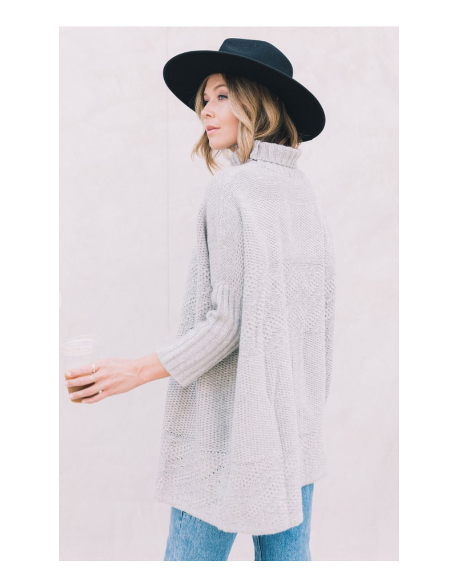 Oversize Cable Zig Zag Pullover Sweater