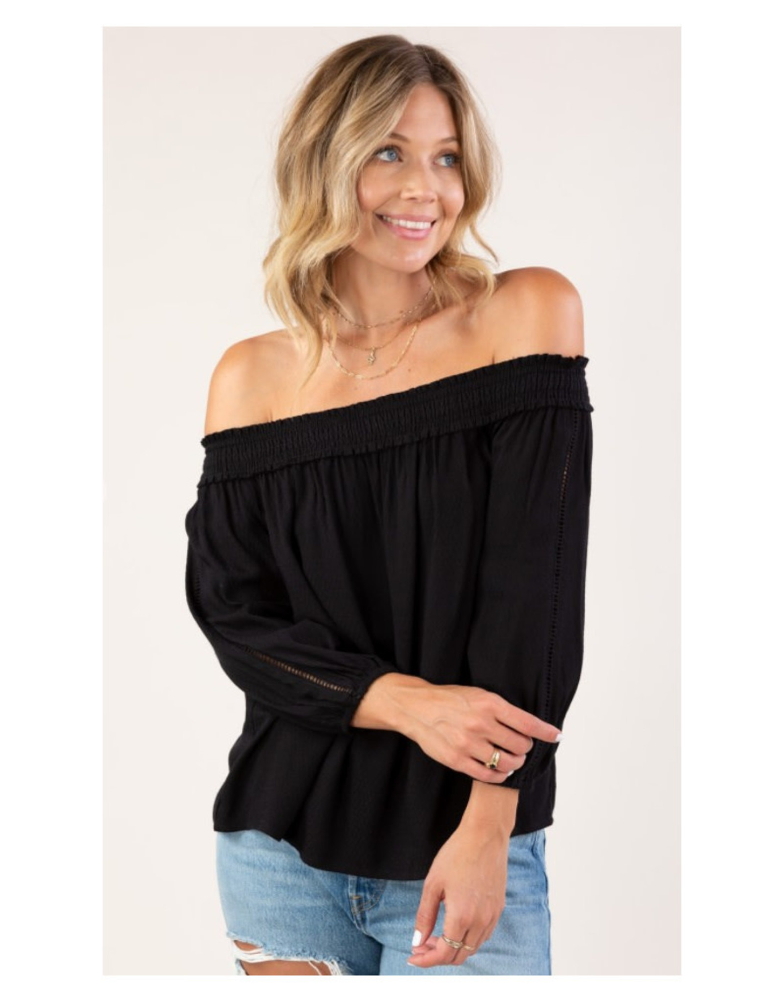 Off the Shoulder Top with Lattice Trim