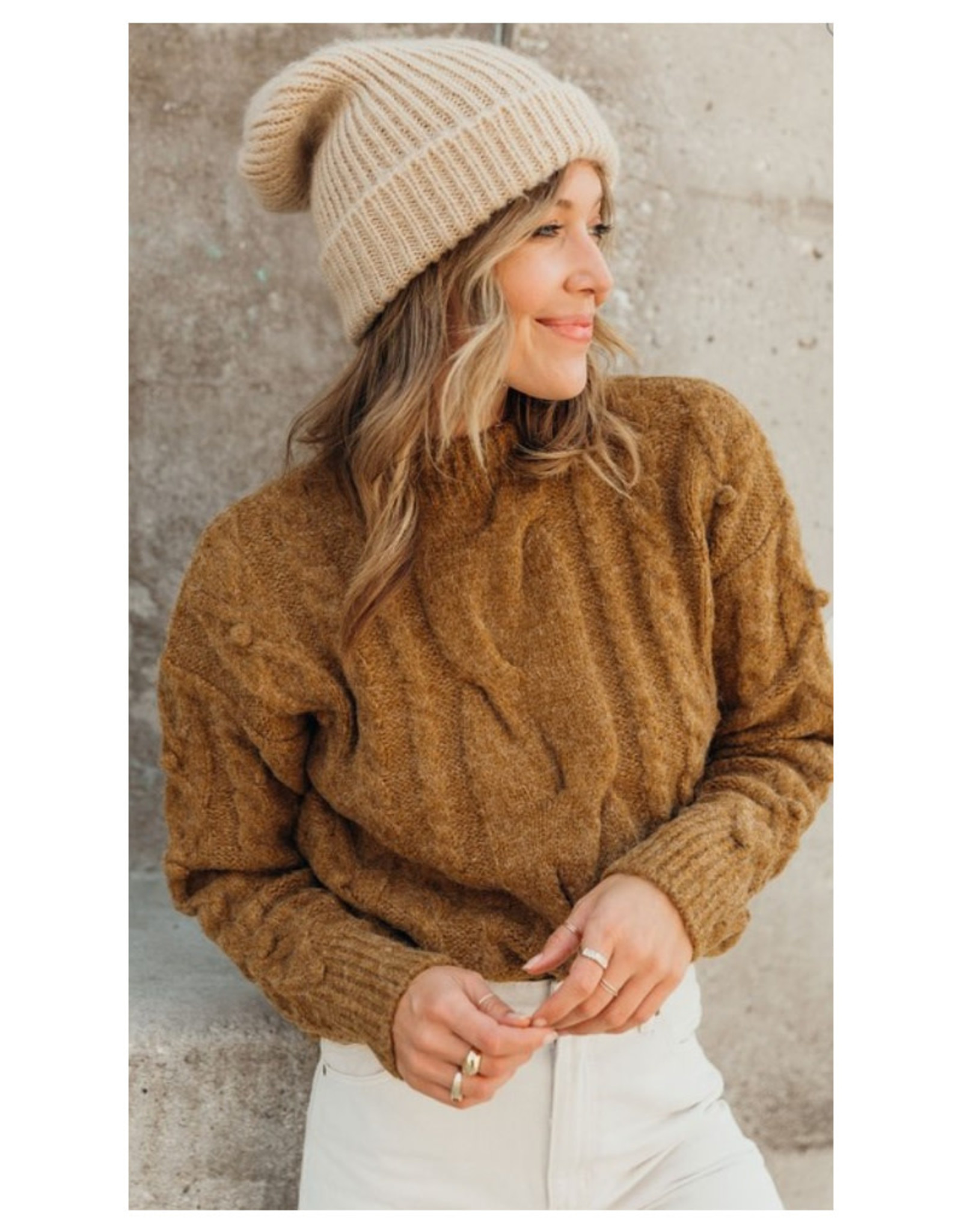 Chunky Cable Pom Pom Sweater