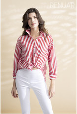 Strawberry Striped Tie Front Blouse