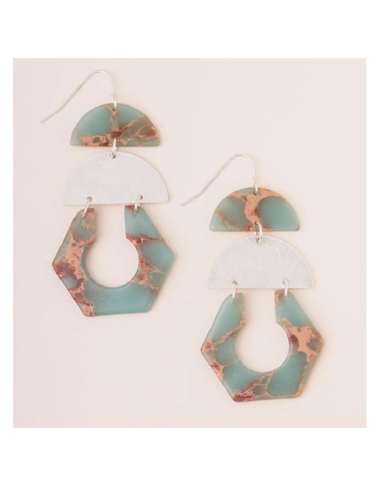 Scout Cut Out Earrings - Aqua Terra/Silver