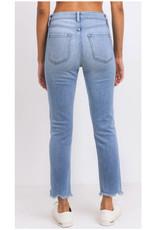 Straight Leg Uneven Hem Jeans