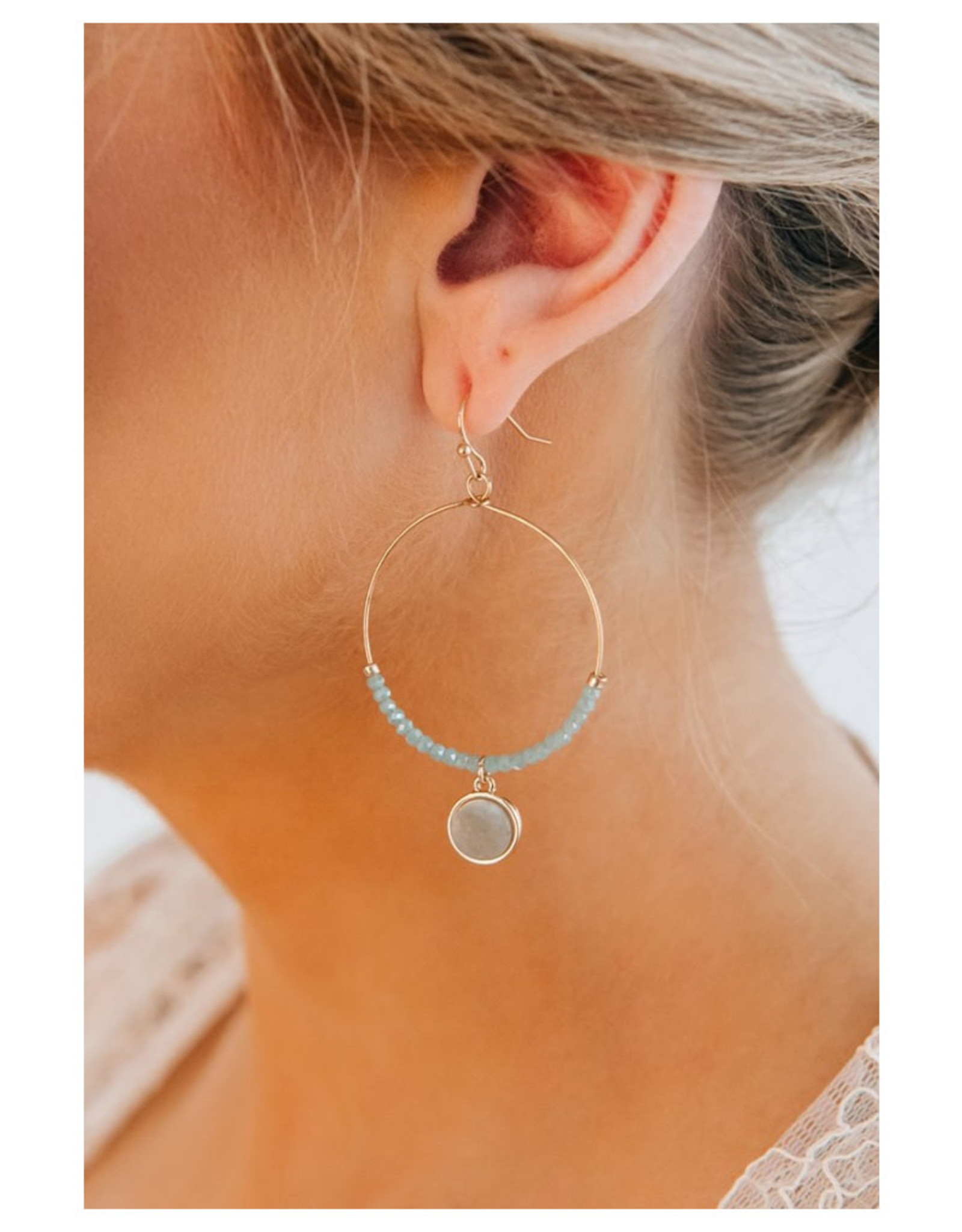 Mint Hoop with Dangle Stone Detail