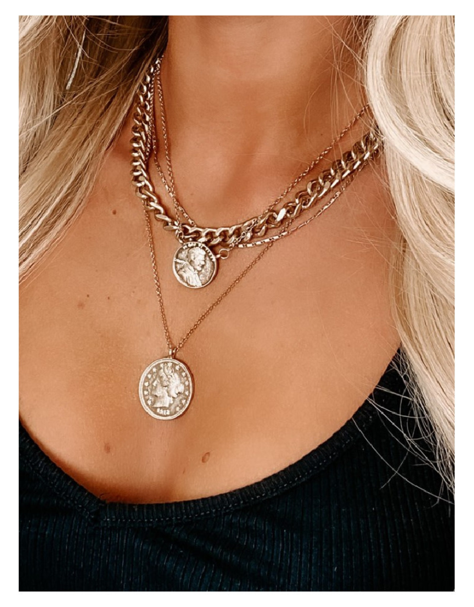 Layered Necklace with Coin Charms