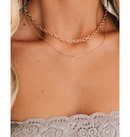 Layer Necklace with Rhinestone Clasp