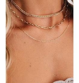Gold Herringbone Layer Necklace
