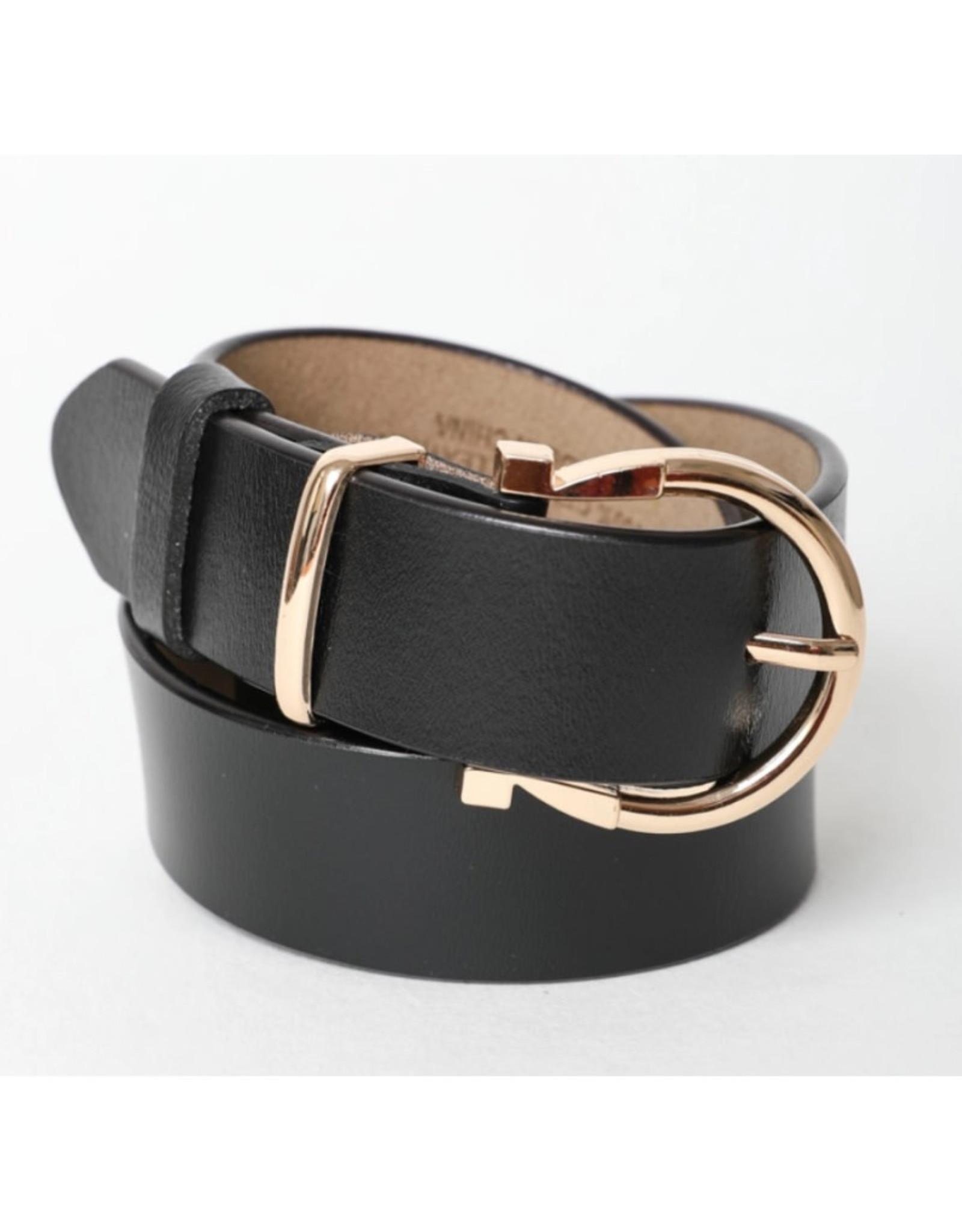Black Horseshoe Belt with Gold Bucket