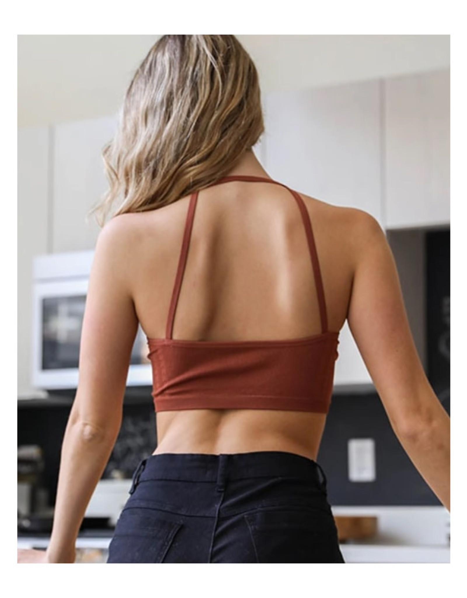 Seamless Cropped Bralette in Rust