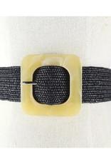 Woven Straw Belt - Black