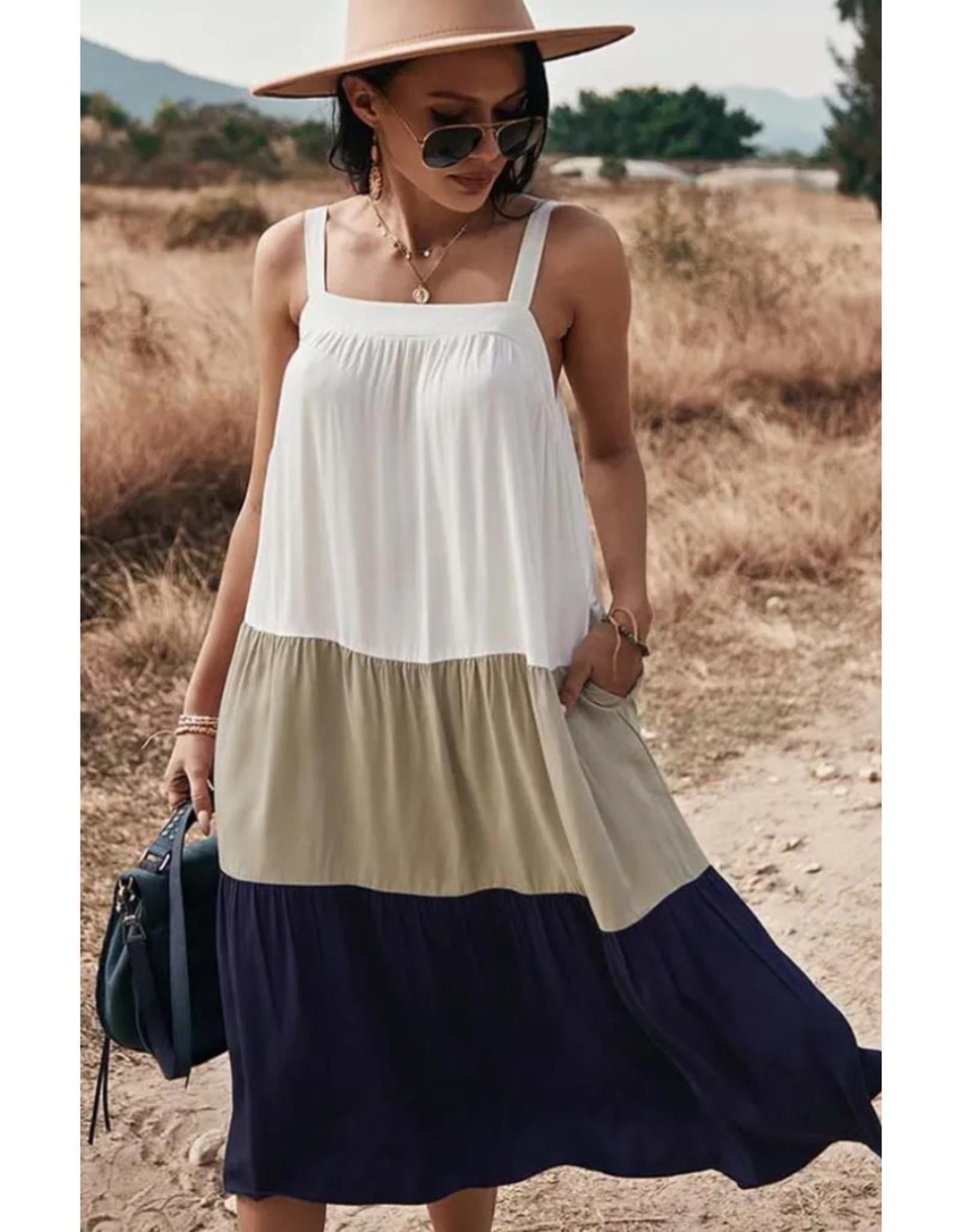 Tiered Colorblock Ruffle Midi Dress - Navy