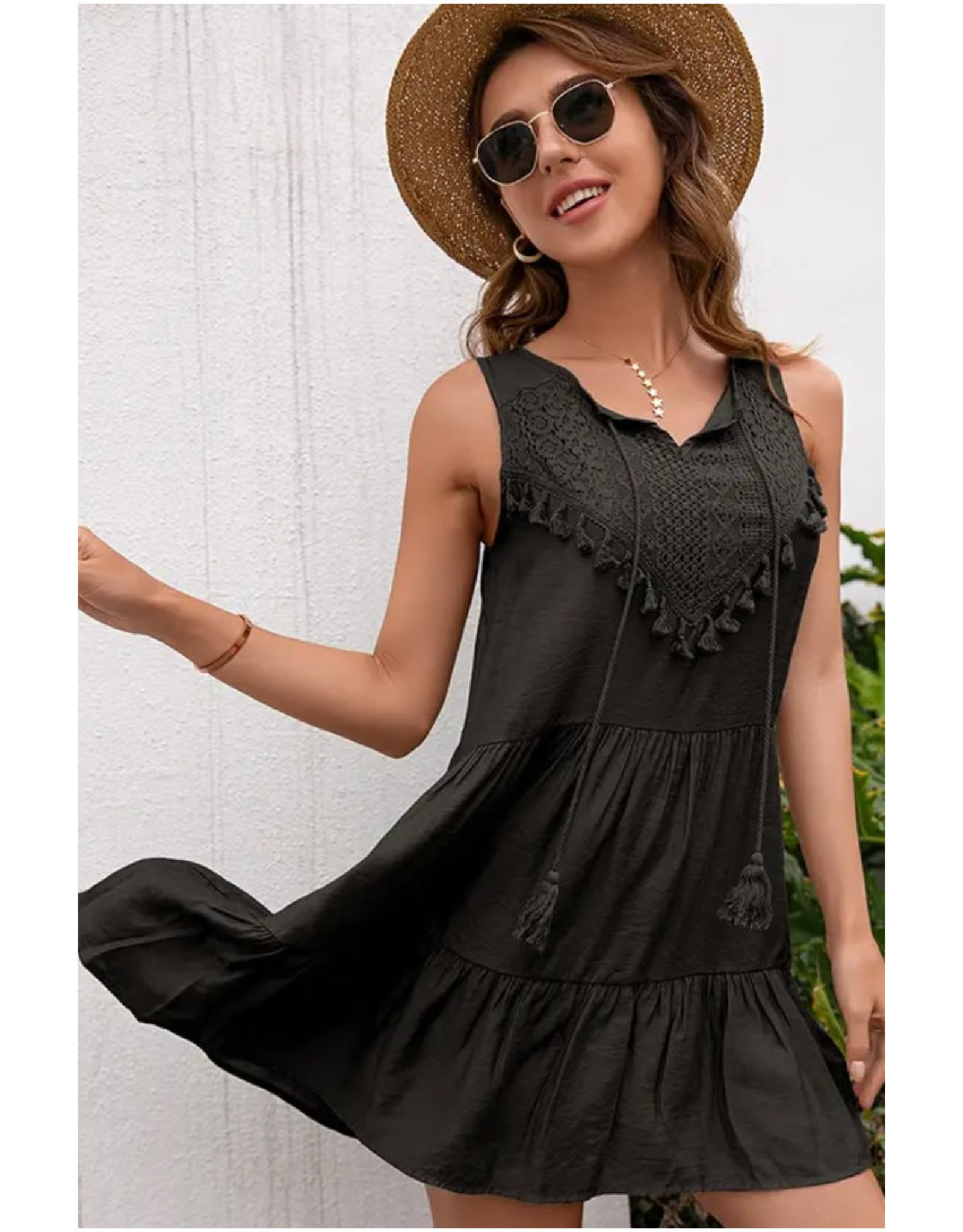 Tunic Dress with Crocheted Lace Bodice