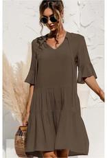 Tiered Mini Dress with Tie Neckline - Olive
