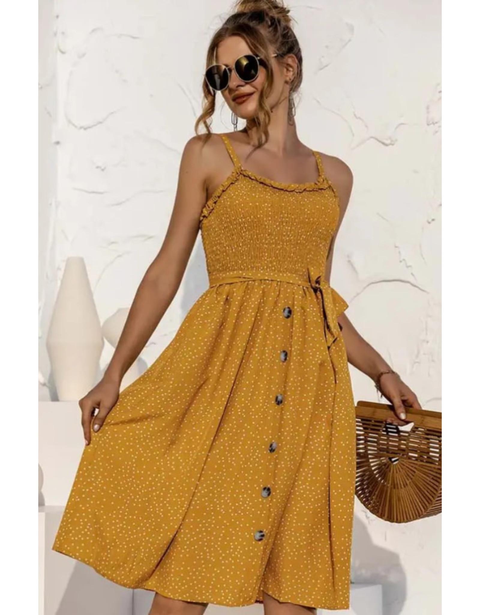 Polka Dot Mini Dress - Mustard
