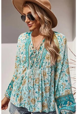 Holiday Floral Peasant Top