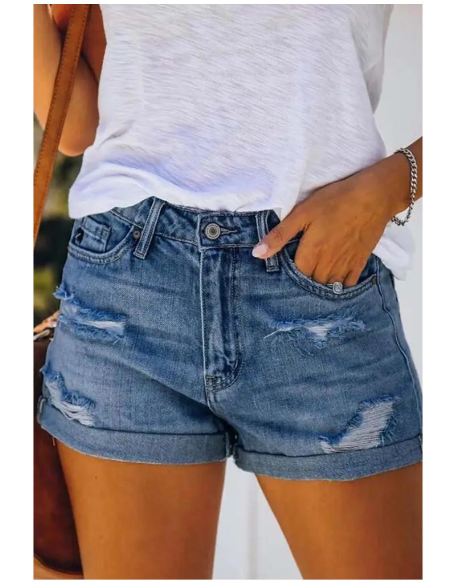 Distressed Denim Shorts with Cuffs