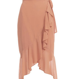 Midi Wrap Skirt with Ruffle