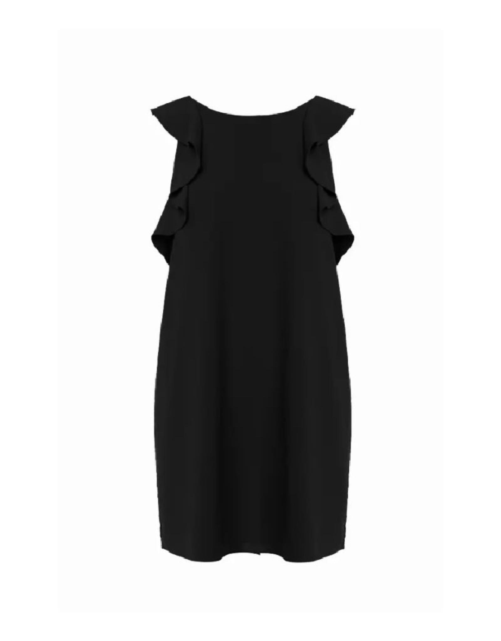 Ruffle Sleeve V-Back Dress - Black